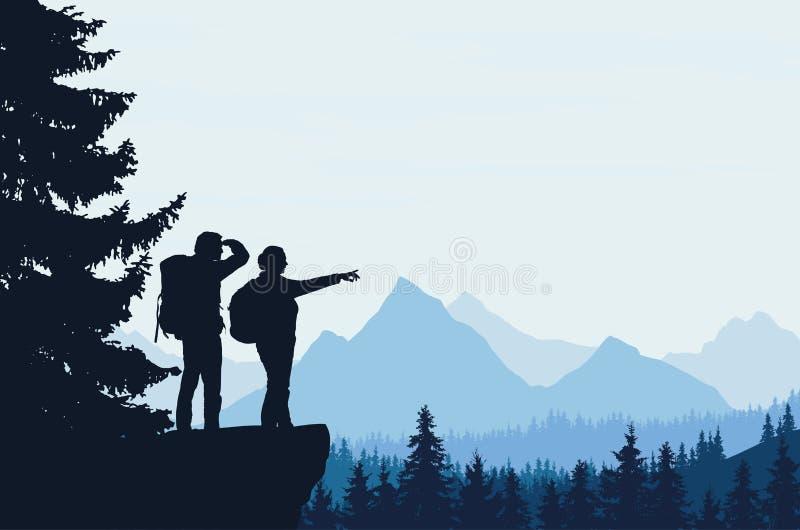 Vector a ilustração de uma paisagem da montanha com uma floresta ilustração royalty free