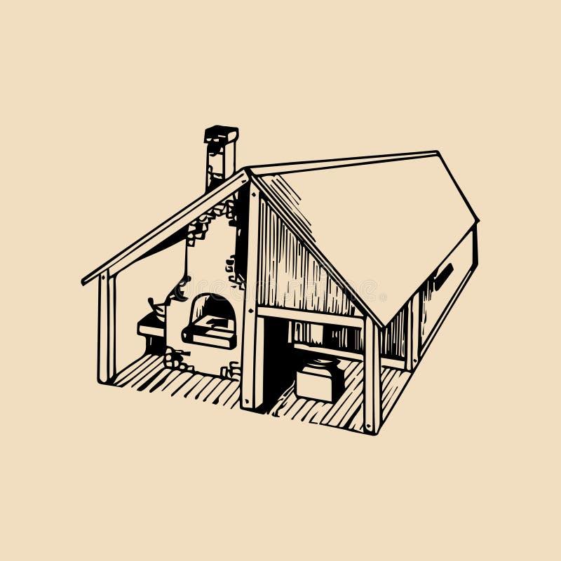 Vector a ilustração detalhada tirada mão da casa da oficina do ferreiro Usado para o logotipo retro ou a etiqueta do farrier ilustração stock
