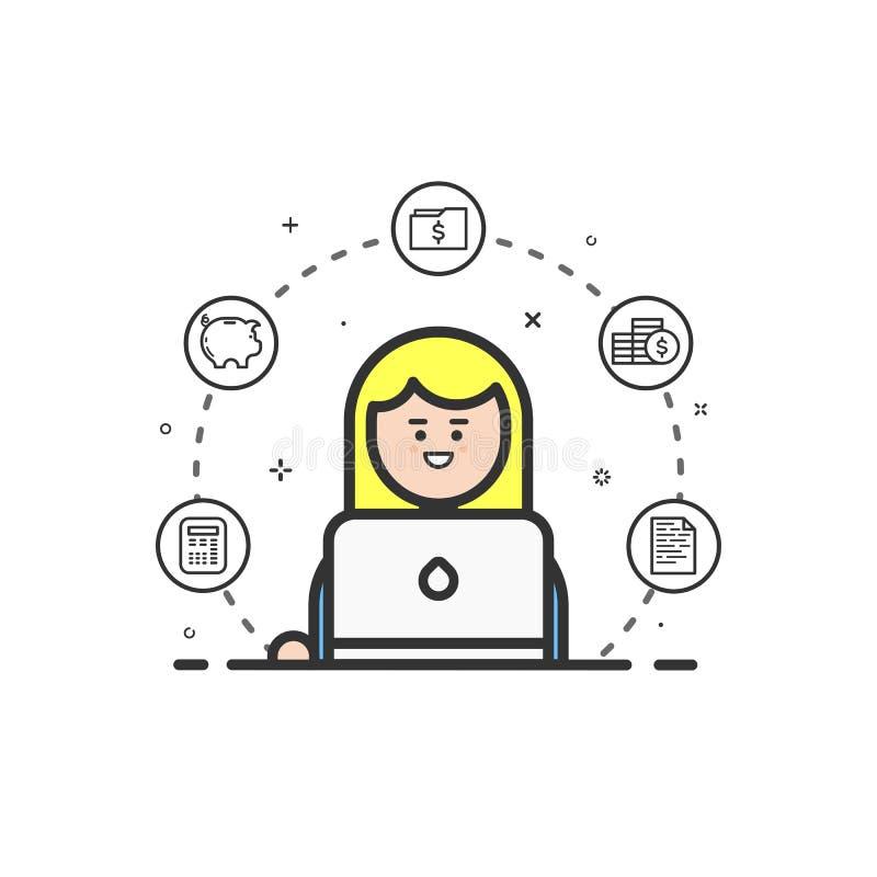 Vector a ilustração do ícone colorido na linha estilo lisa Conceito de projeto gráfico do contador financeiro da mulher ilustração royalty free
