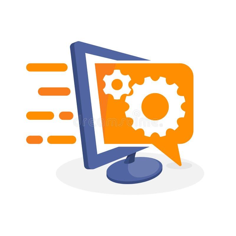 Vector a ilustração do ícone com conceito digital dos meios sobre a informação do ajuste, como trabalhar ilustração royalty free