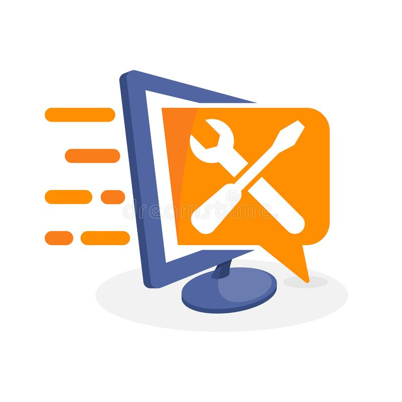 Vector a ilustração do ícone com conceito digital dos meios sobre a informação do ajuste, o reparo & a informação de manutenção ilustração stock