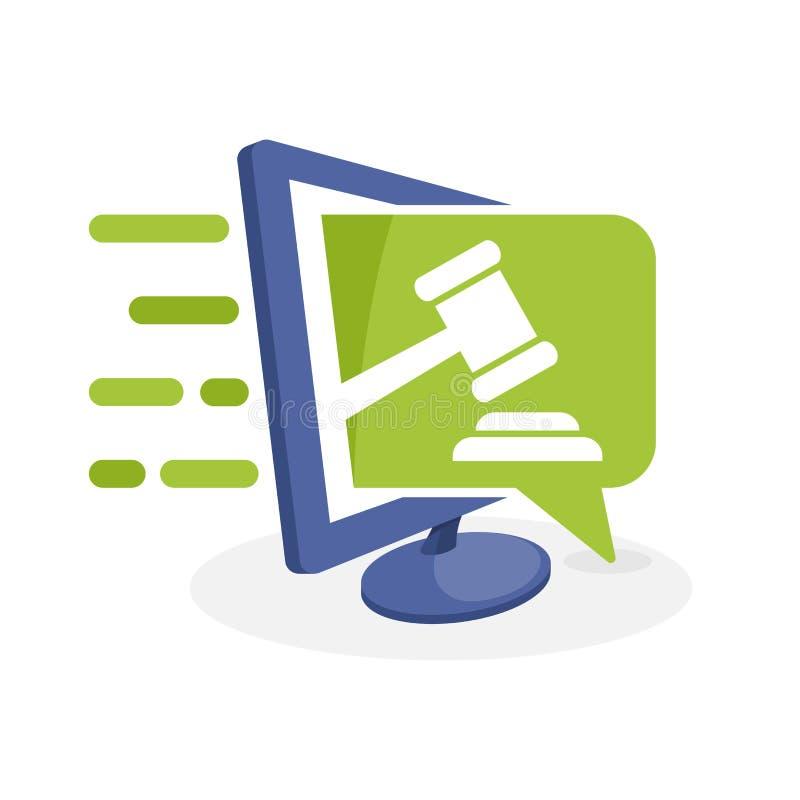Vector a ilustração do ícone com o conceito de uma comunicação digital, sobre o sistema de informação de oferecimento em linha ilustração do vetor