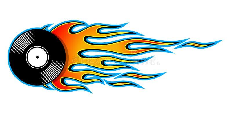 Vector a ilustração do ícone retro do registro de vinil do vintage com chamas ilustração stock