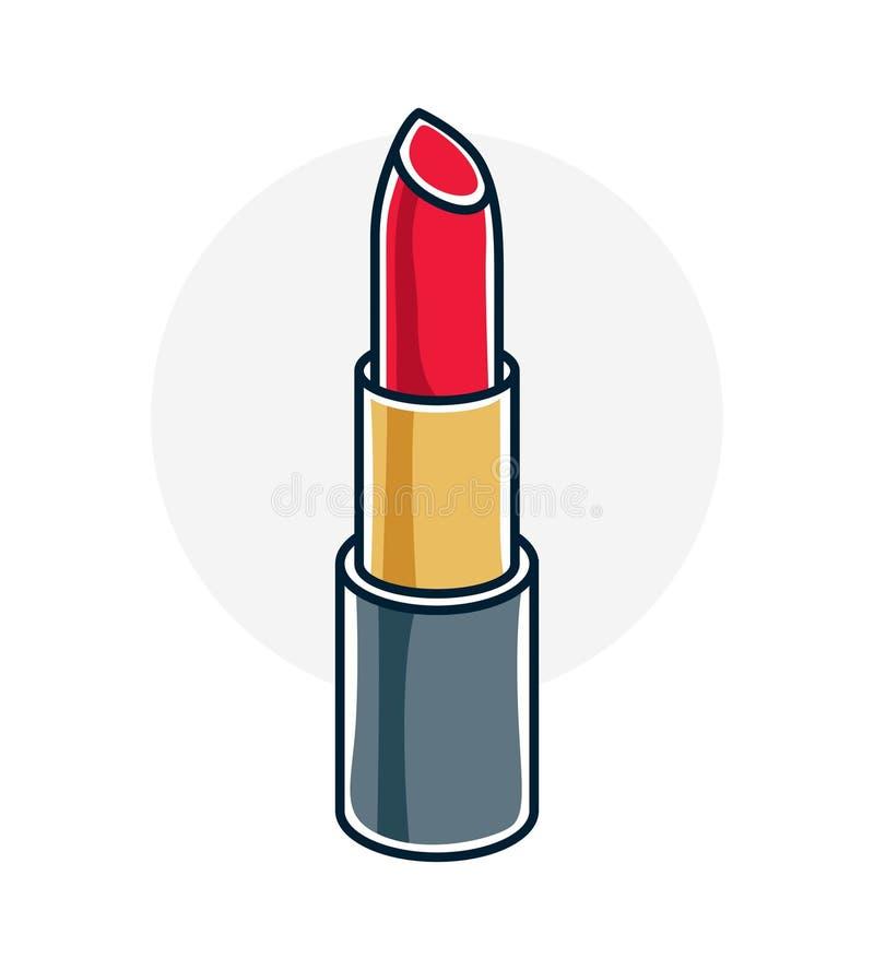 Vector a ilustração do único batom vermelho isolado no CCB branco ilustração stock