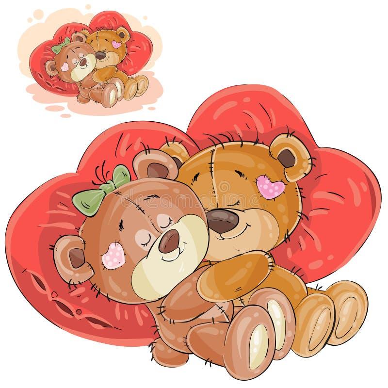 Vector a ilustração do abraço de encontro marrom de um par ursos de peluche coração vermelho em descansos dados forma ilustração do vetor