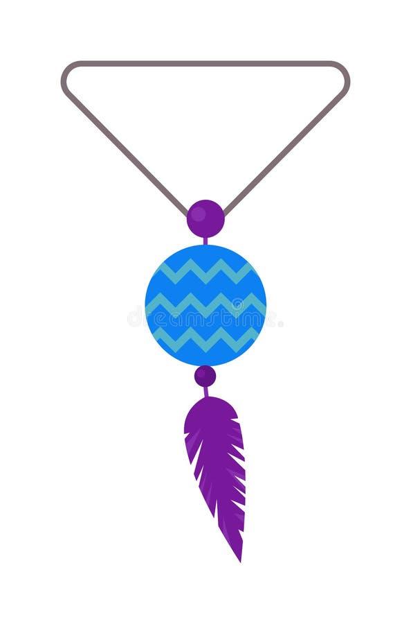 Vector a ilustração do amuleto tribal do pendente com penas e pedra lunar ilustração do vetor