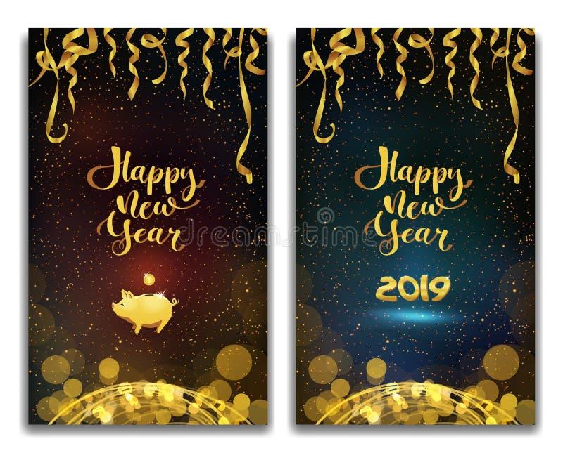 Vector a ilustração do ano novo feliz 2019 em umas felicitações violetas e azuis do texto do fundo, fitas douradas e ouropel, lei ilustração stock