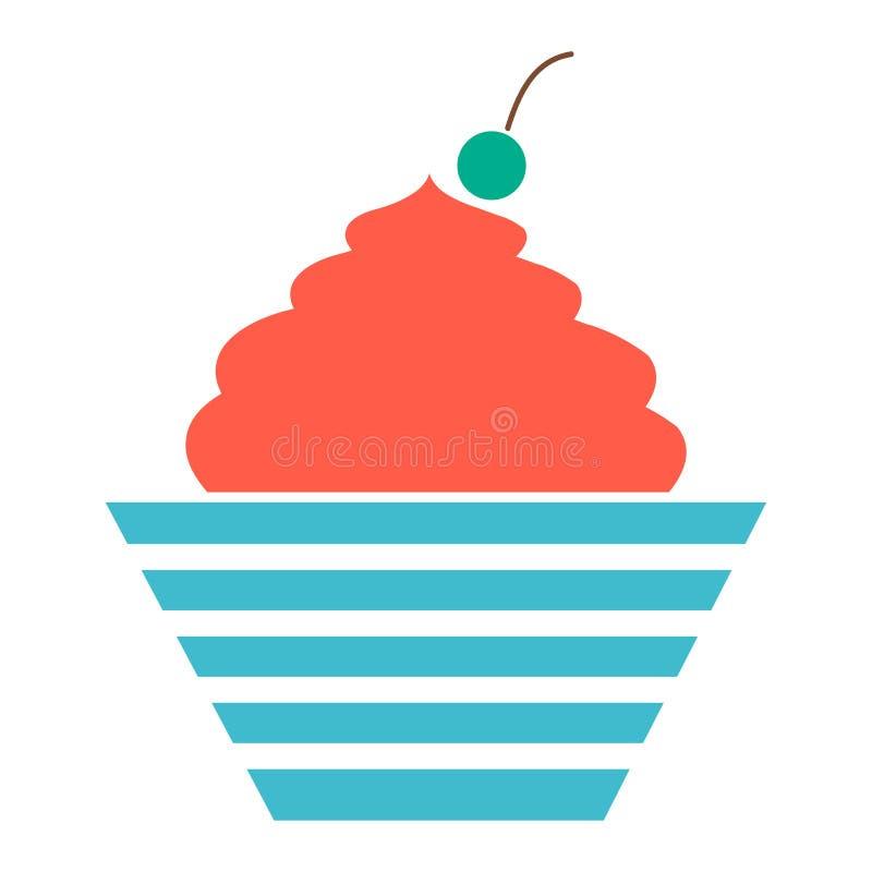 Vector a ilustração do bolo de aniversário, ícone da sobremesa - celebração do feriado, símbolo da padaria ilustração royalty free