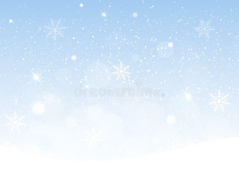 Vector a ilustração do céu nevando, fundo dos flocos de neve do Natal ilustração do vetor