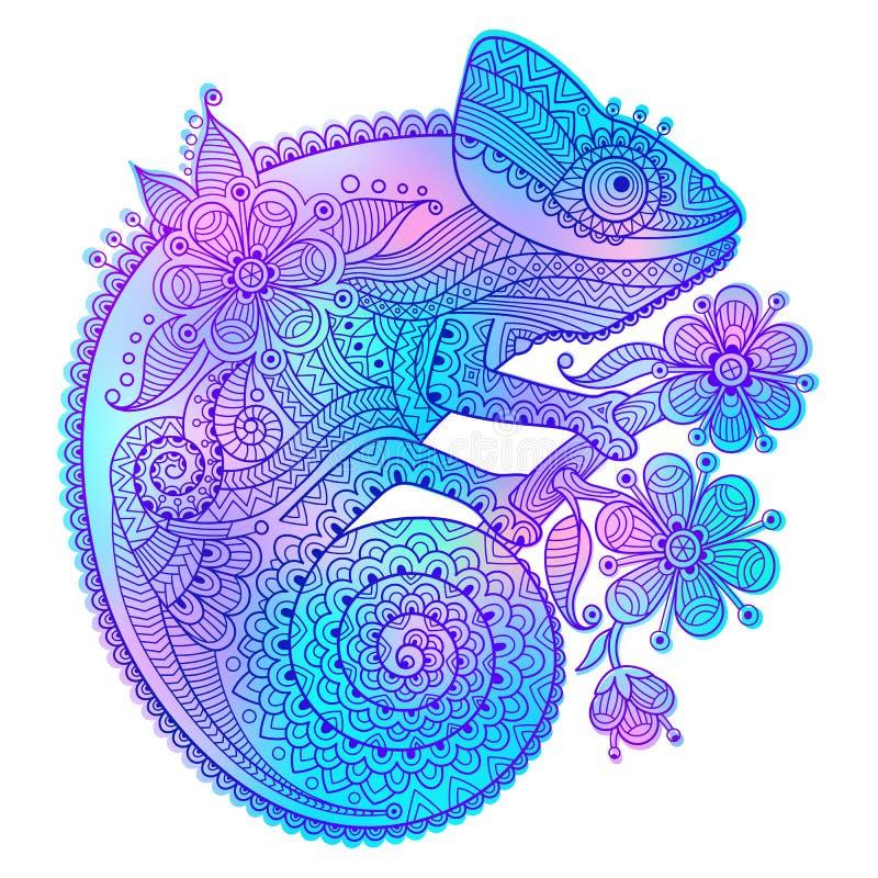 Vector a ilustração do camaleão do arco-íris e de testes padrões decorativos ilustração stock