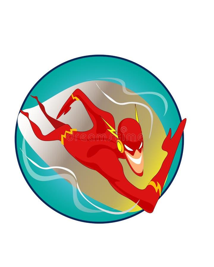 Vector a ilustração do caráter do super-herói da velocidade rápida dos desenhos animados fotografia de stock
