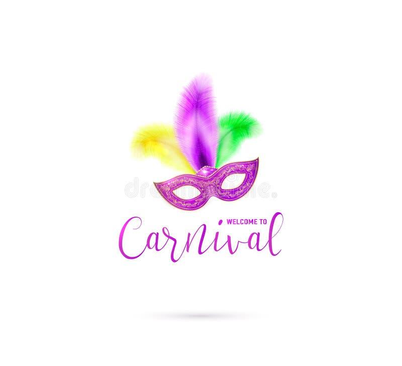 Vector a ilustração do cartão do carnaval com boa vinda do sinal da máscara e do texto a ilustração royalty free