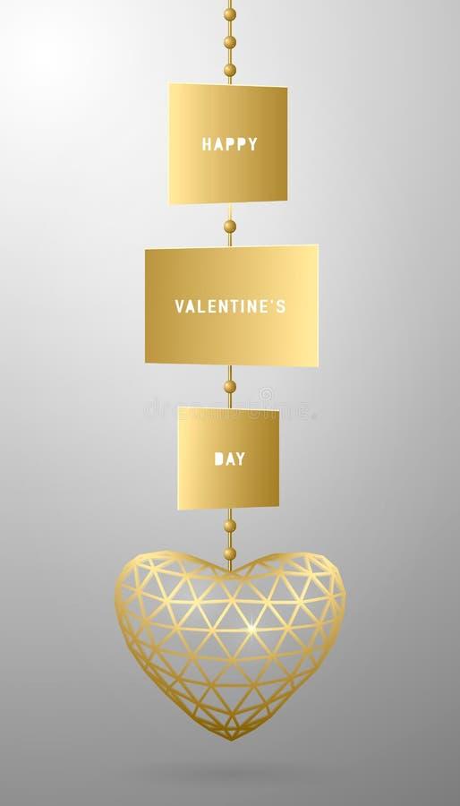 Vector a ilustração do cartão do dia de Valentim com pendente dourado, coração do triângulo ilustração do vetor