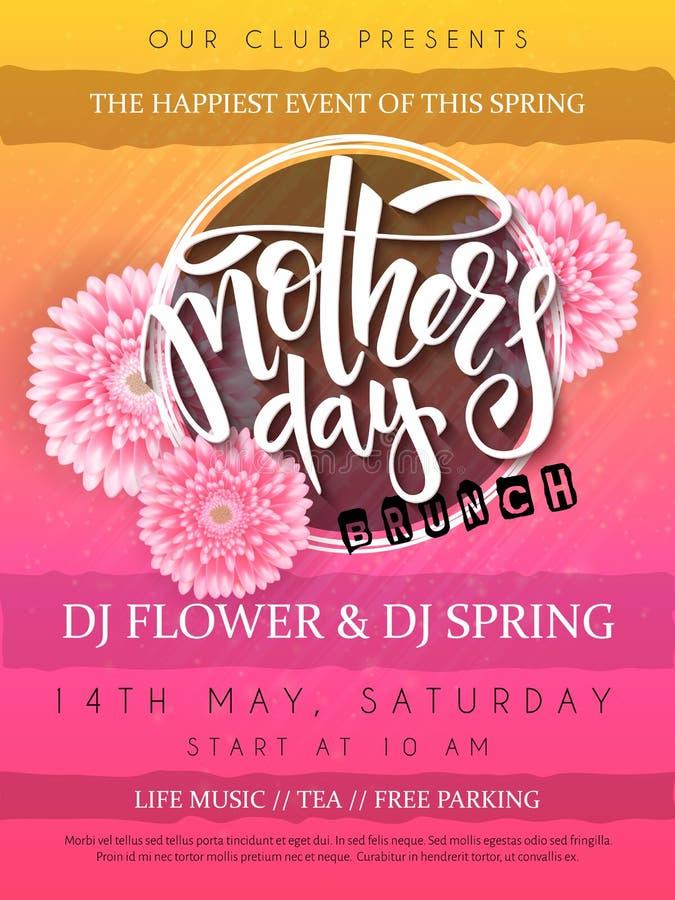 Vector a ilustração do cartaz do evento do dia de mães com quadro redondo, texto de florescência da rotulação da mão das flores d ilustração stock