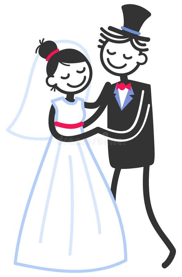 Vector a ilustração do casamento de figuras felizes recém-casados que dançam, molde da vara do convite do casamento ilustração do vetor