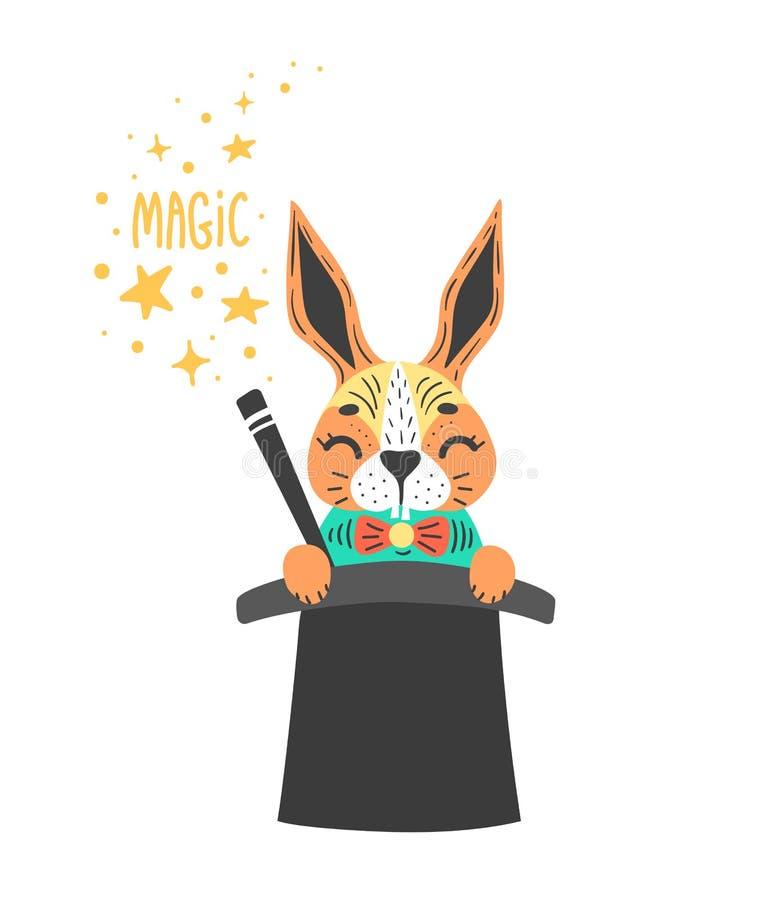 Vector a ilustração do coelho bonito no cilindro dos feiticeiros Truque mágico Isolado no branco ilustração royalty free