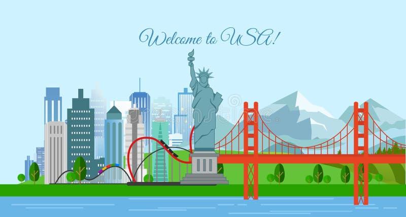 Vector a ilustração do conceito do curso, boa vinda aos EUA Cartaz do Estados Unidos da América com a maioria de construções famo ilustração royalty free
