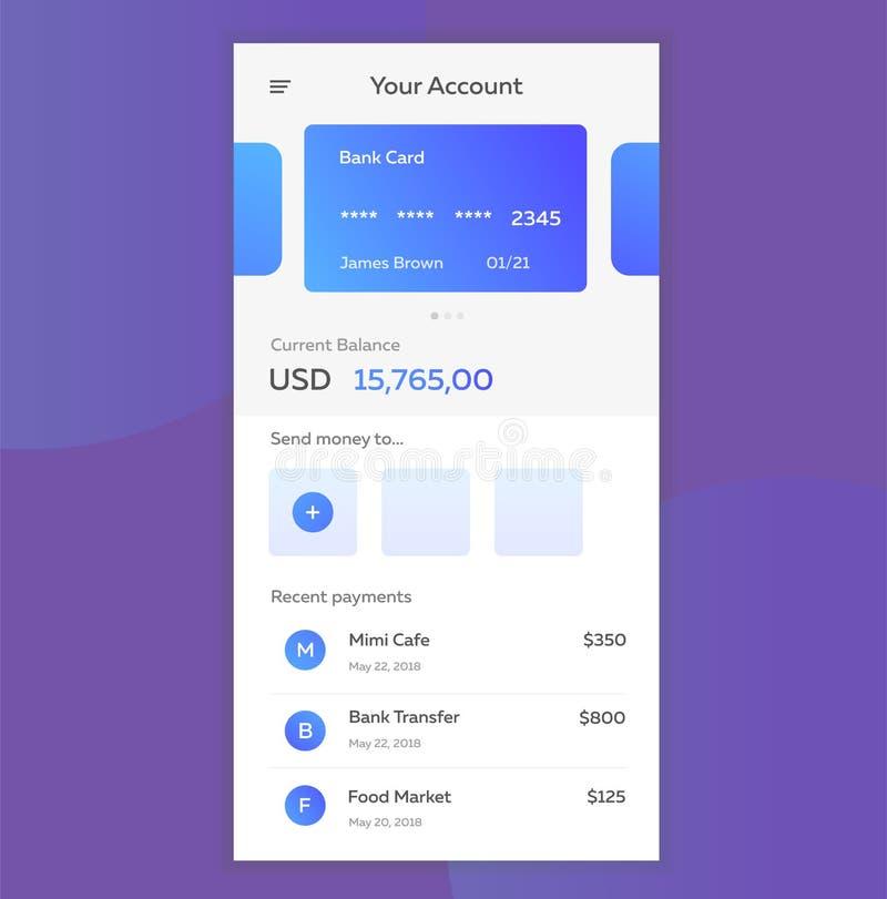 Vector a ilustração do conceito de pagamentos móveis usando a aplicação em seu smartphone Operação bancária em linha, em linha ilustração do vetor
