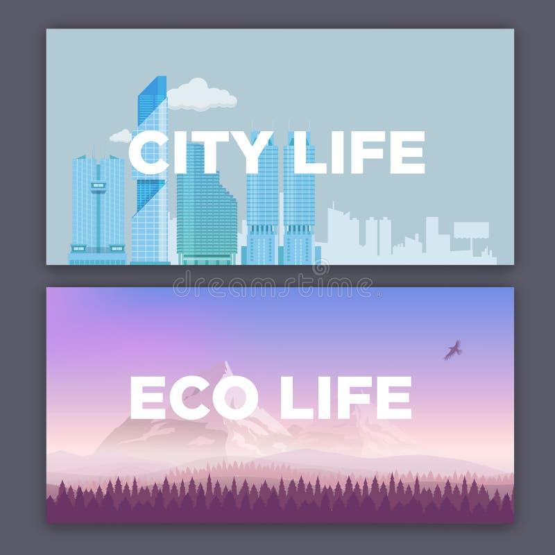 Vector a ilustração do conceito do ambiente da cidade e da paisagem da montanha Vida urbana e da vila ilustração do vetor