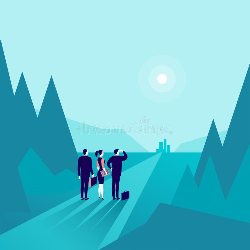 Vector a ilustração do conceito do negócio com os executivos que estão na borda da floresta & que olham na cidade do horizonte ilustração royalty free