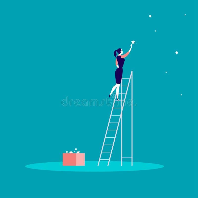 Vector a ilustração do conceito do negócio com a senhora do negócio que está em escadas e que alcança a estrela no céu Fundo para ilustração royalty free