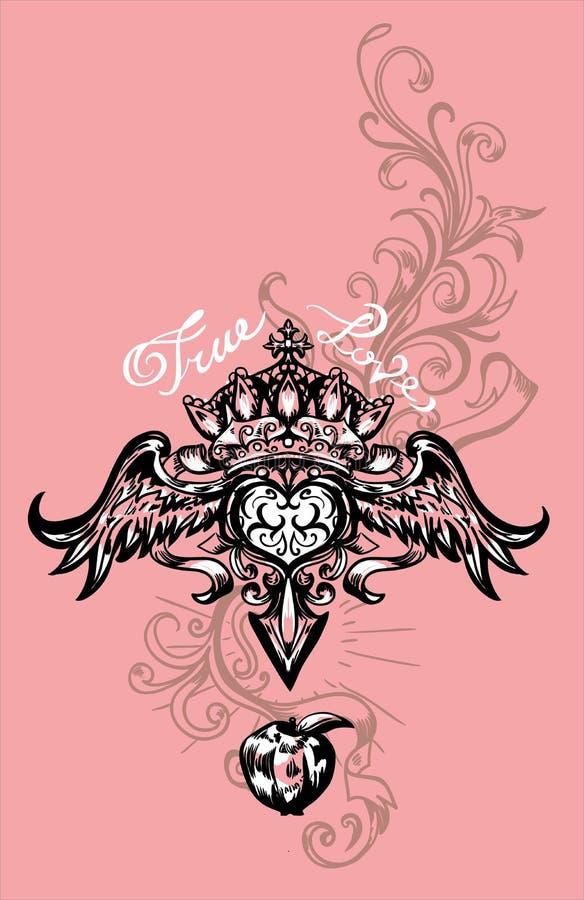 Vector a ilustração do coração, da coroa e da maçã voados Coração retro tirado mão do voo da tatuagem ilustração stock