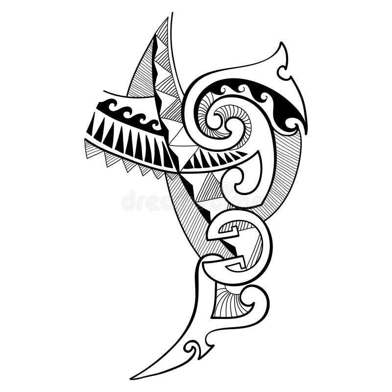 Vector a ilustração do desenho de projeto polinésio da tatuagem no preto isolado no fundo branco Geometria tribal, simbólica, lin ilustração stock