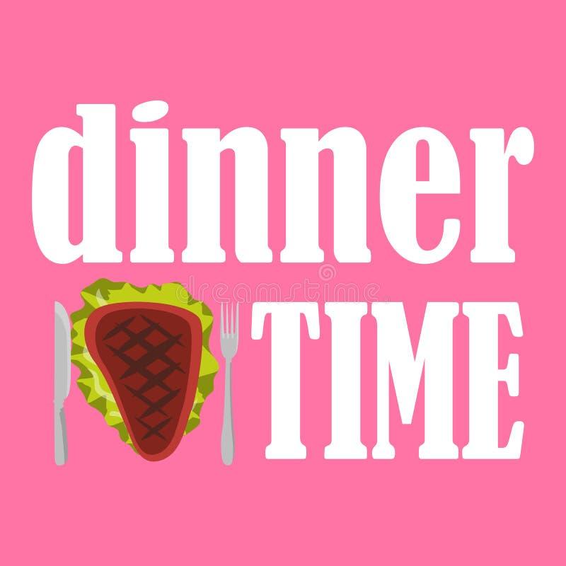 Vector a ilustração do dinnertime com bife, a faca e a forquilha fritados no fundo cor-de-rosa ilustração royalty free