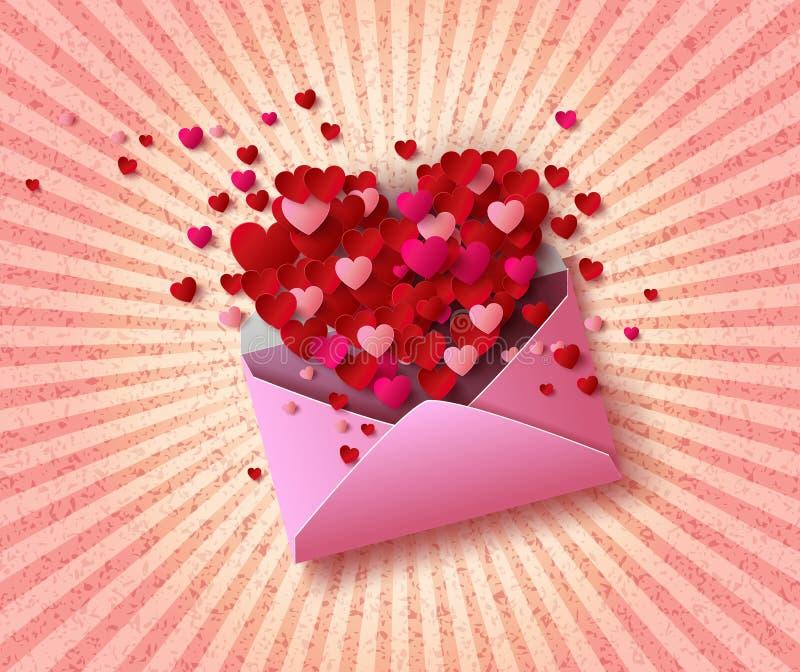 Vector a ilustração do envelope Open com corações vermelhos ilustração royalty free