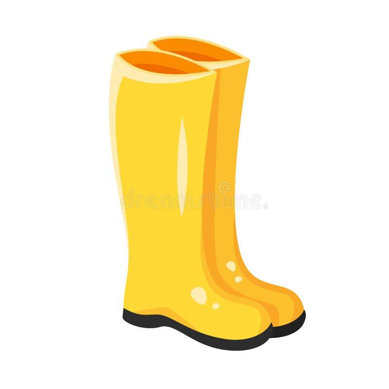 Vector a ilustração do estilo dos desenhos animados de botas de borracha amarelas ilustração do vetor