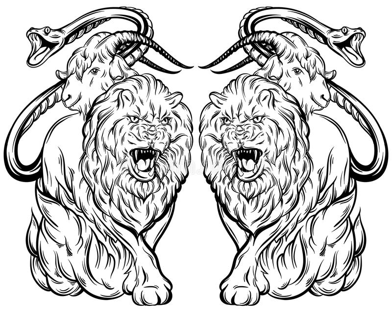 Vector a ilustração do estilo tirado disponivel feito quimera ilustração royalty free