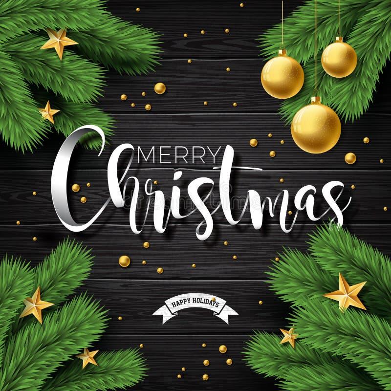 Vector a ilustração do Feliz Natal no fundo de madeira do vintage com elementos da tipografia e do feriado Estrelas, ramo do pinh ilustração stock