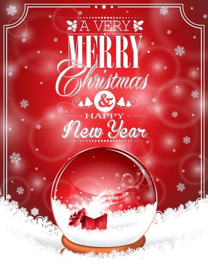 Vector a ilustração do feriado em um tema do Natal com o globo da neve contra ilustração royalty free