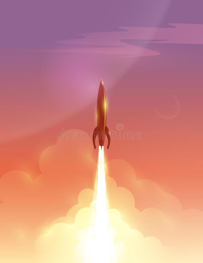 Vector a ilustração do foguete retro sobre o céu bonito ilustração do vetor