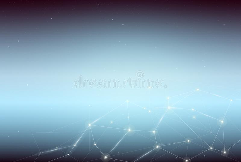 Vector a ilustração do fundo azul abstrato do espaço com os pontos e linhas de conexão de iluminação ilustração royalty free