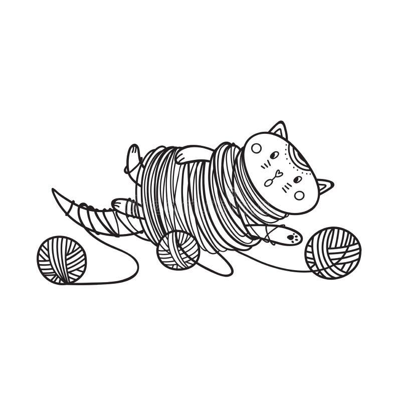 Vector a ilustração do gato bonito que joga com coloração da bola do fio ilustração do vetor