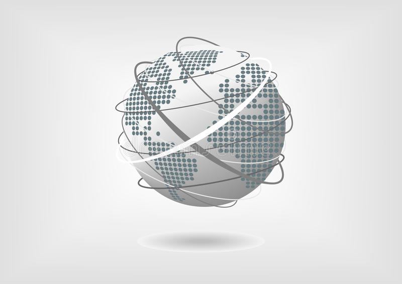 Vector a ilustração do globo com o mapa do mundo pontilhado de America do Norte, de Ámérica do Sul, de Europa e de África ilustração royalty free
