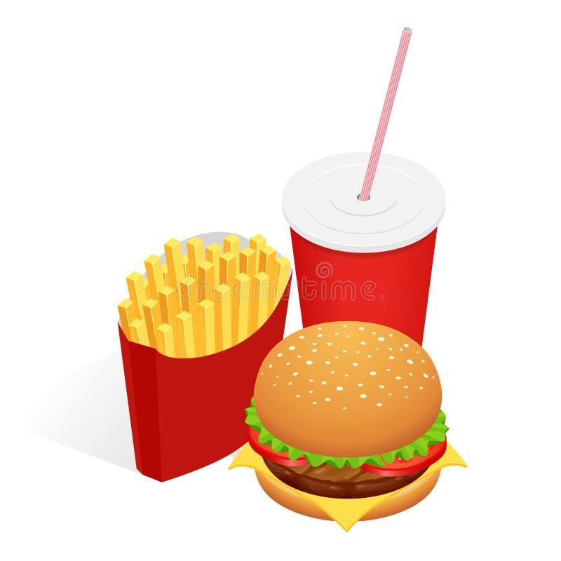 Vector a ilustração do hamburguer, de batatas fritas e da cola isométricos do alimento Conceito do fast food Petisco saboroso ilustração stock