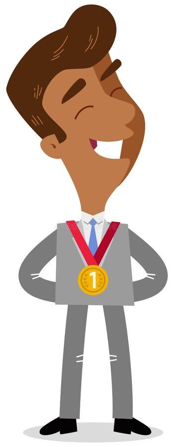 Vector a ilustração do homem de negócio asiático orgulhoso dos desenhos animados que está com a medalha de ouro em torno de seu p ilustração do vetor