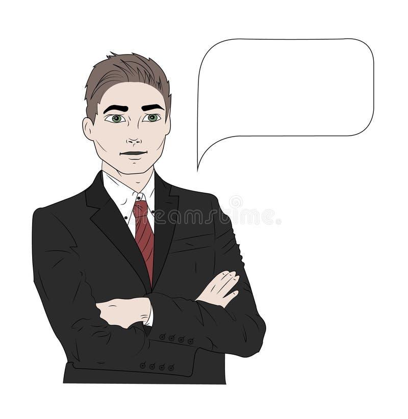 Vector a ilustração do homem de negócio falador na cor ilustração stock