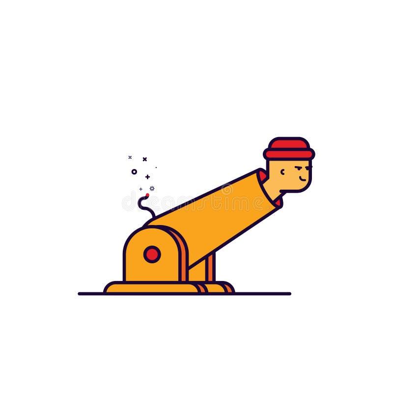 Vector a ilustração do homem do esboço dos desenhos animados no canhão ilustração stock