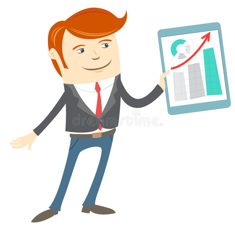 Vector a ilustração do homem do escritório que apresenta um gráfico na tabuleta ilustração do vetor