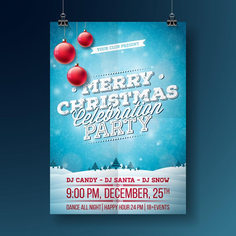 Vector a ilustração do inseto do partido do Feliz Natal com elementos da tipografia e do feriado no fundo azul Inverno ilustração stock