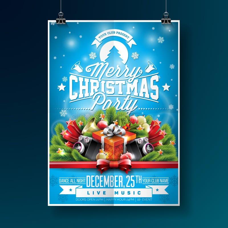 Vector a ilustração do inseto do partido do Feliz Natal com elementos da tipografia e do feriado no fundo azul invitation ilustração do vetor