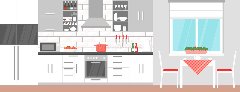 Vector a ilustração do interior moderno da cozinha com mesa de jantar e material para cozinhar o alimento, fogão, armário, pratos ilustração do vetor