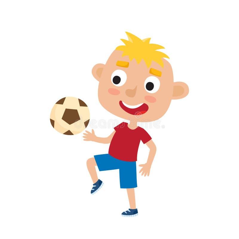 Vector a ilustração do menino louro pequeno na camisa e curto ilustração stock