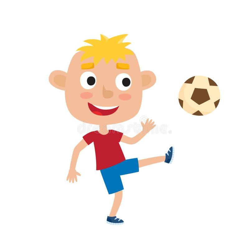 Vector a ilustração do menino louro pequeno na camisa e curto ilustração royalty free