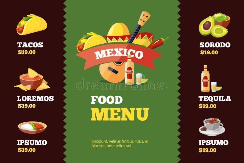 Vector a ilustração do molde do menu do restaurante do fundo com alimento mexicano ilustração stock