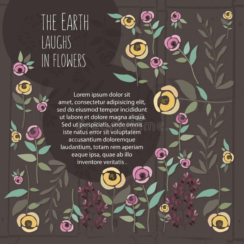 Vector a ilustração do molde floral no estilo liso do projeto com ilustração royalty free