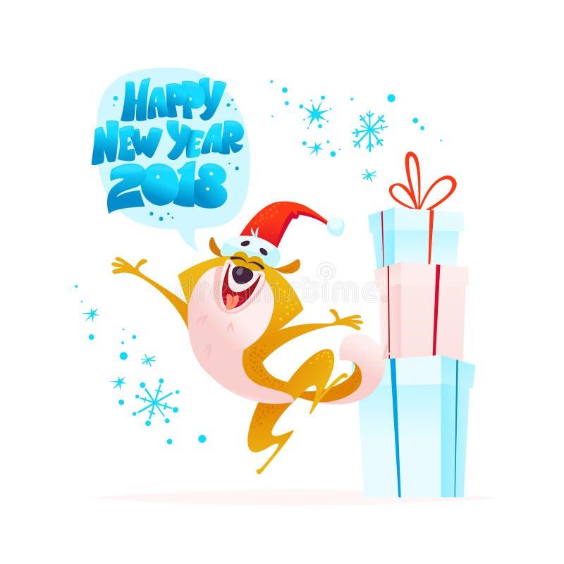 Vector a ilustração do Natal do caráter alegre do cão no salto do chapéu de Santa isolado no fundo branco ilustração stock